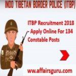 ITBP Recruitment 2018 - Apply Online For 134 Constable Posts - AffairsGuru
