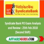 Syndicate Bank PO Exam Analysis and Review 2nd Shift- AffairsGuru