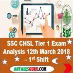 SSC CHSL Tier 1 Exam Analysis 12th March 2018 Shift 1 AffairsGuru