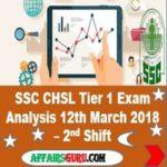 SSC CHSL Tier 1 Exam Analysis 12th March 2018 Shift 2 AffairsGuru