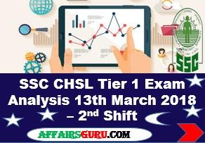SSC CHSL Tier 1 Exam Analysis 13th March 2018 Shift 2