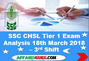 SSC CHSL Tier 1 Exam Analysis 18th March 2018 - Shift 3