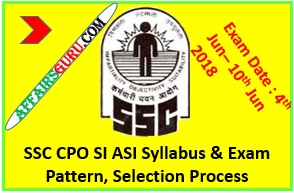SSC CPO SI ASI Syllabus, Exam Pattern, Selection Procedure 2018