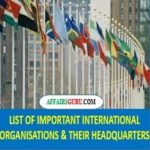 List of International Organisations and their Headquarters PDF - AffairsGuru