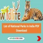 List of National Parks In India pdf - AffairsGuru