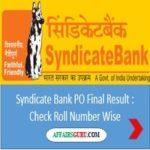 Syndicate Bank PO Final Result - AffairsGuru