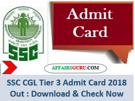 SSC CGL Tier 3 Admit Card 2018