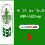 SSC CHSL Result 2018 Tier-1 AffairsGuru