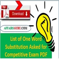 list of one word substitution asked for competitive exam pdf