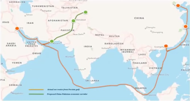 CPEC Route (with green line)