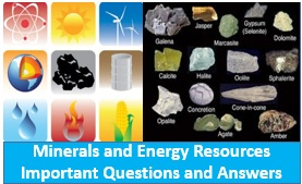 Mineral and Energy Resources Important Questions and Answers