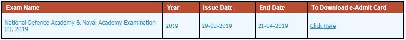 NDA Exam Date And Admit Card Link