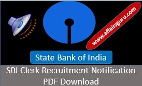 SBI Cler Recruitment Notification PDF Download